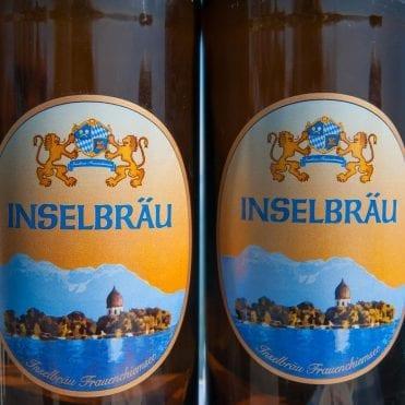 Inselbräu 1-Liter Schmuckflasche mit gedrucktem Etikett, wiederbefüllbar